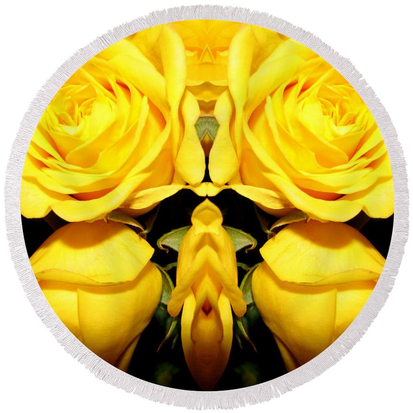 Roses Round Beach Towel featuring the photograph Yellow Roses Mirrored Effect by Rose Santuci-Sofranko