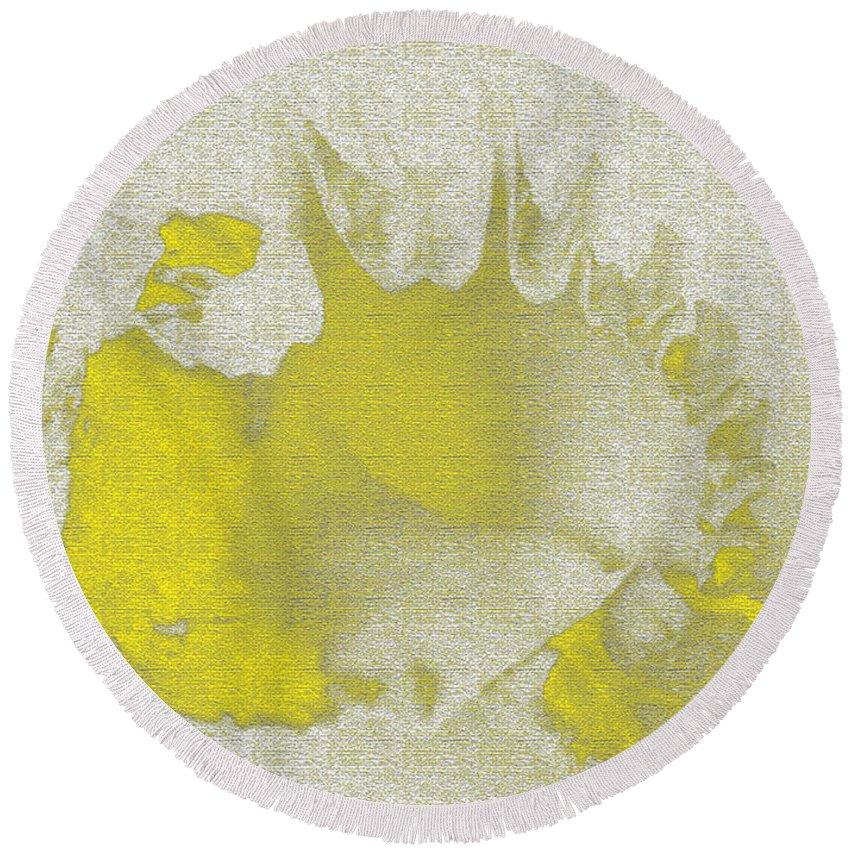 Yellow Round Beach Towel featuring the digital art Yellow Shell by Carol Lynch