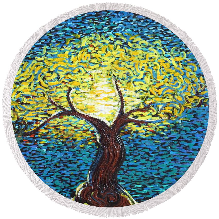 Landscape Round Beach Towel featuring the painting Yellow Squiggle Tree by Stefan Duncan