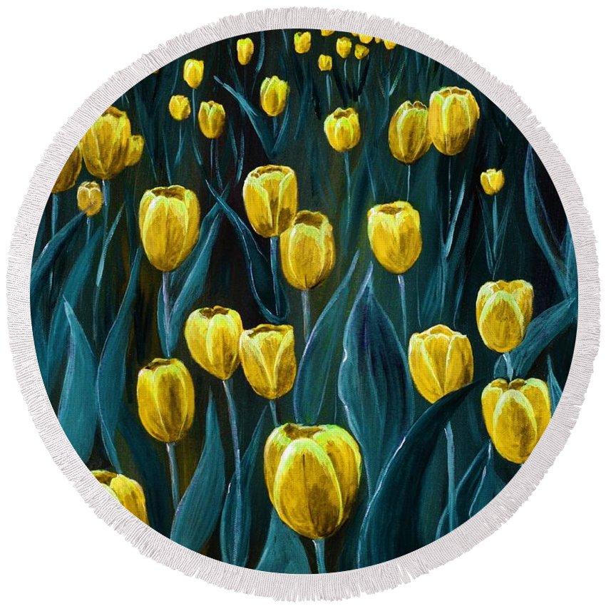 May Round Beach Towel featuring the painting Yellow Tulip Field by Anastasiya Malakhova