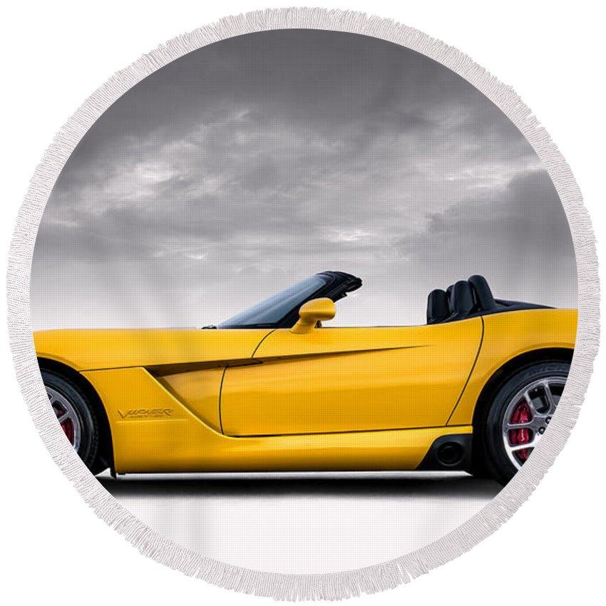 Yellow Round Beach Towel featuring the digital art Yellow Viper Roadster by Douglas Pittman