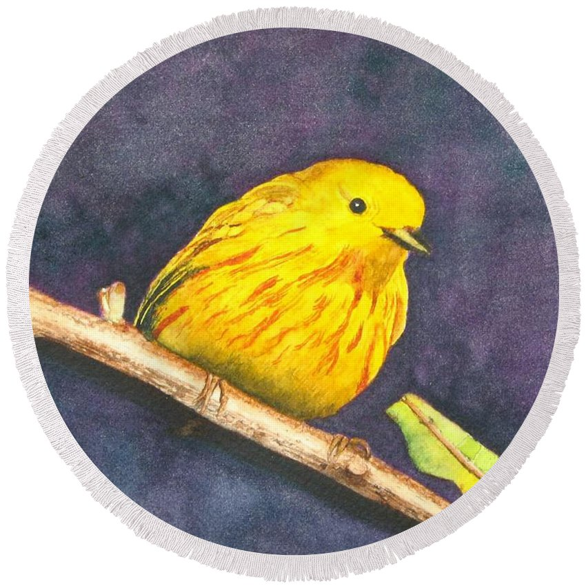 Warbler Round Beach Towel featuring the painting Yellow Warbler II by Sharon Farber