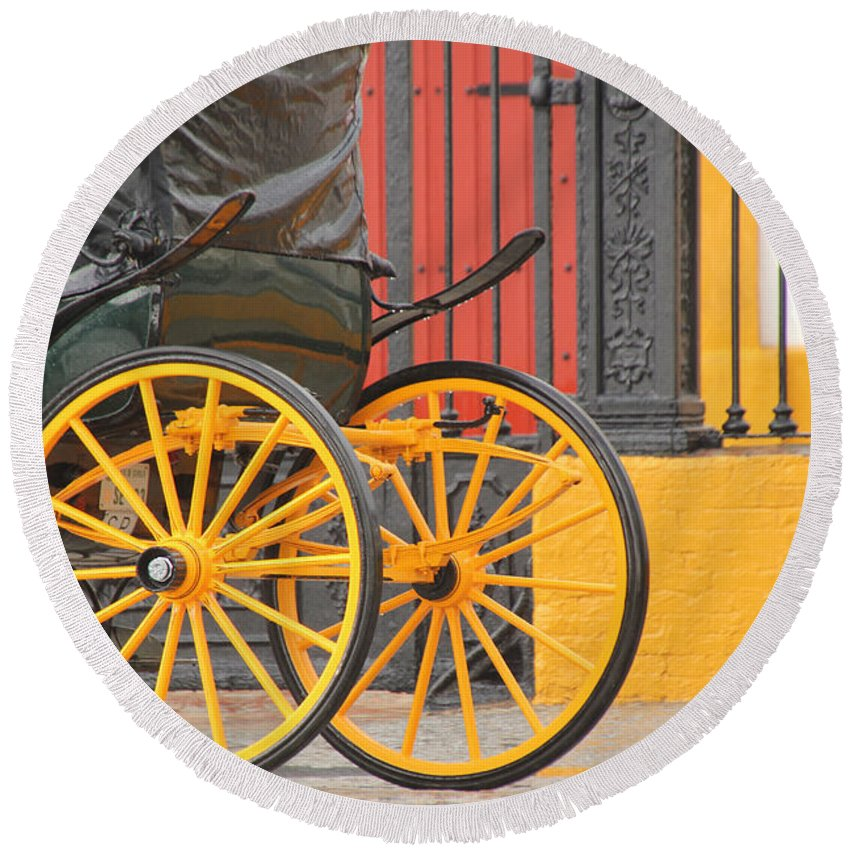Spain Round Beach Towel featuring the photograph Yellow Wheeled Carriage In Seville by Holly C. Freeman