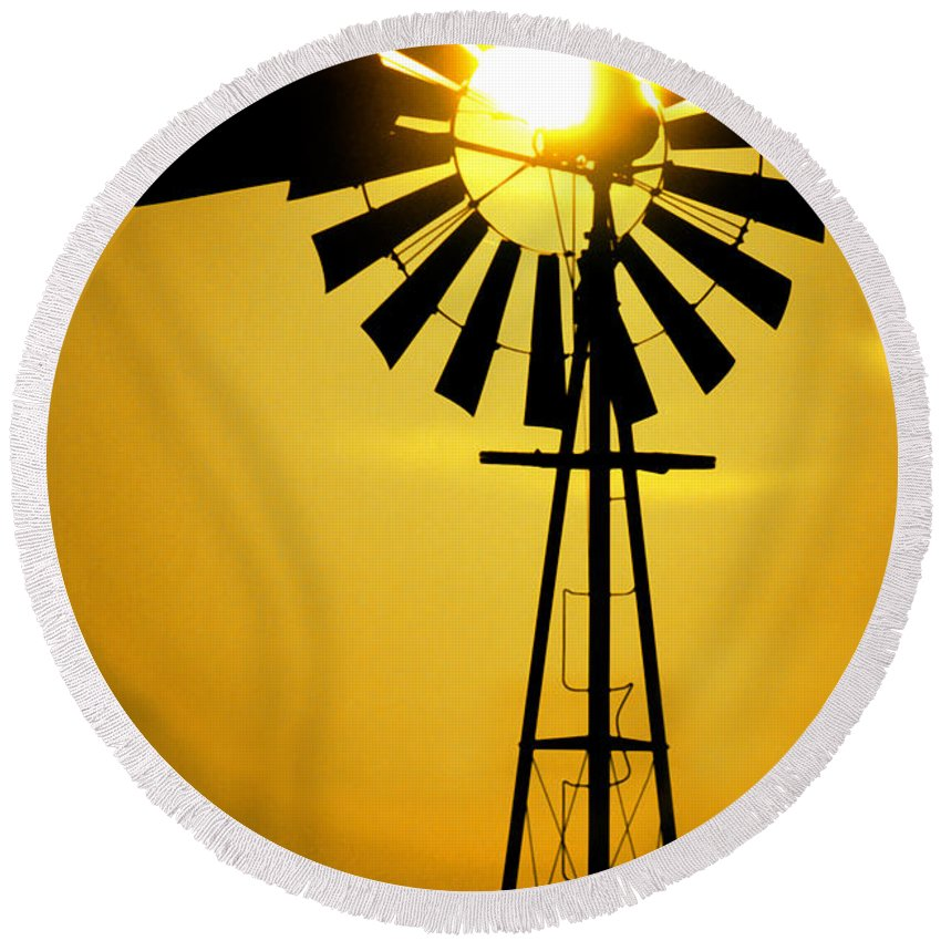 Windmill Round Beach Towel featuring the photograph Yellow Wind by Jerry McElroy