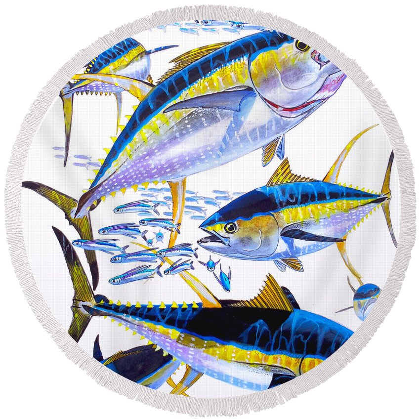 Yellowfin Tuna Round Beach Towel featuring the painting Yellowfin Run by Carey Chen