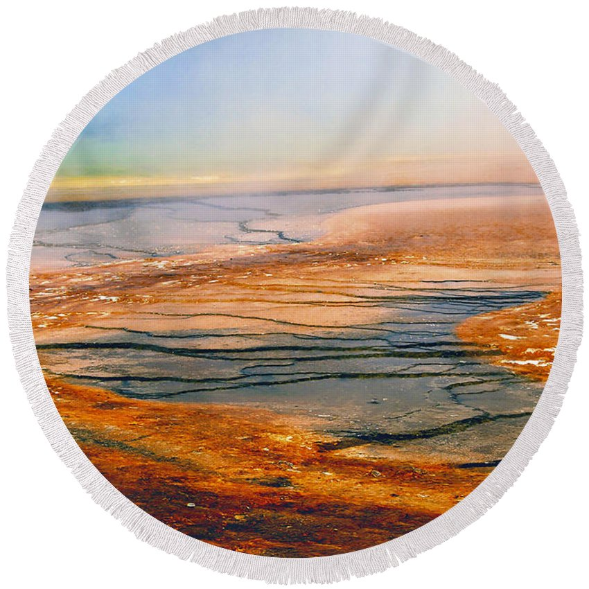 America Round Beach Towel featuring the photograph Yellowstone 18 by Ingrid Smith-Johnsen