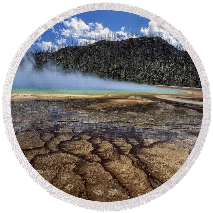 America Round Beach Towel featuring the photograph Yellowstone 6 by Ingrid Smith-Johnsen