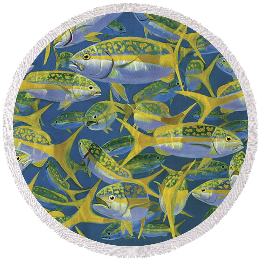 Yellowtail Snapper Round Beach Towel featuring the painting Yellowtail Frenzy In0023 by Carey Chen