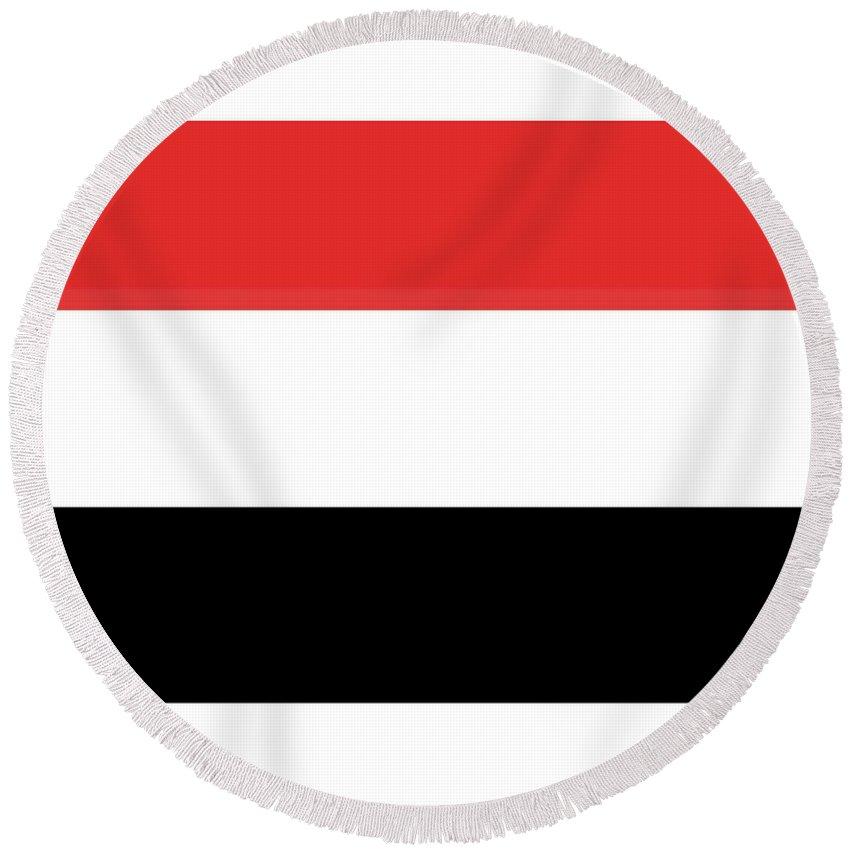 Yemen Round Beach Towel featuring the digital art Yemen Flag by Frederick Holiday