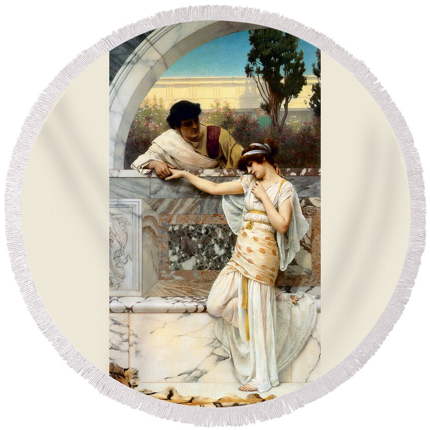 John William Godward Round Beach Towel featuring the digital art Yes Or No by John William Godward