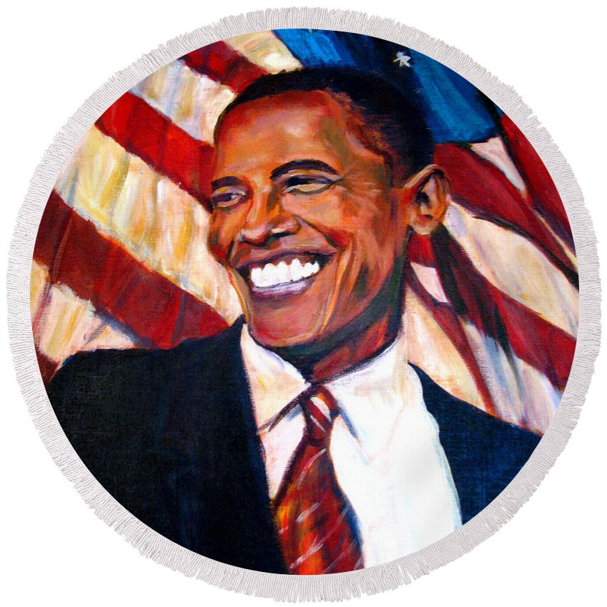 Barack Round Beach Towel featuring the painting Yes We Can by Art Nomad Sandra Hansen