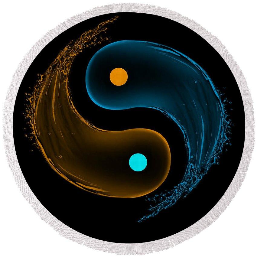 Element Round Beach Towel featuring the digital art Yin Yang Water Splash Symbol by Eti Reid
