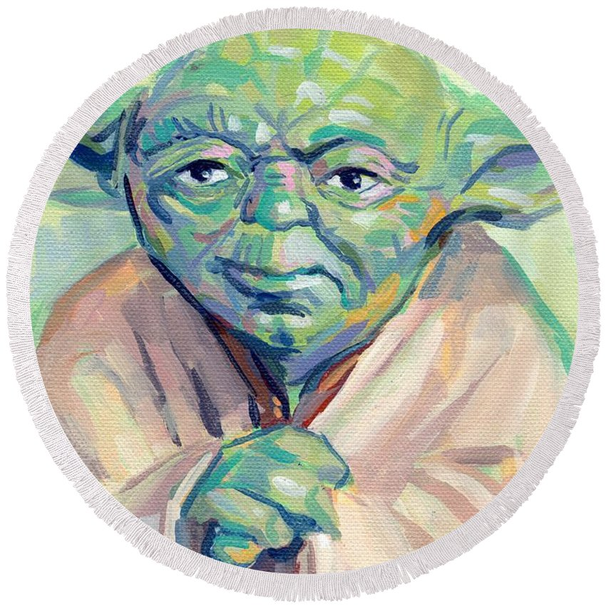Yoda Round Beach Towel featuring the painting Yoda by Kimberly Santini
