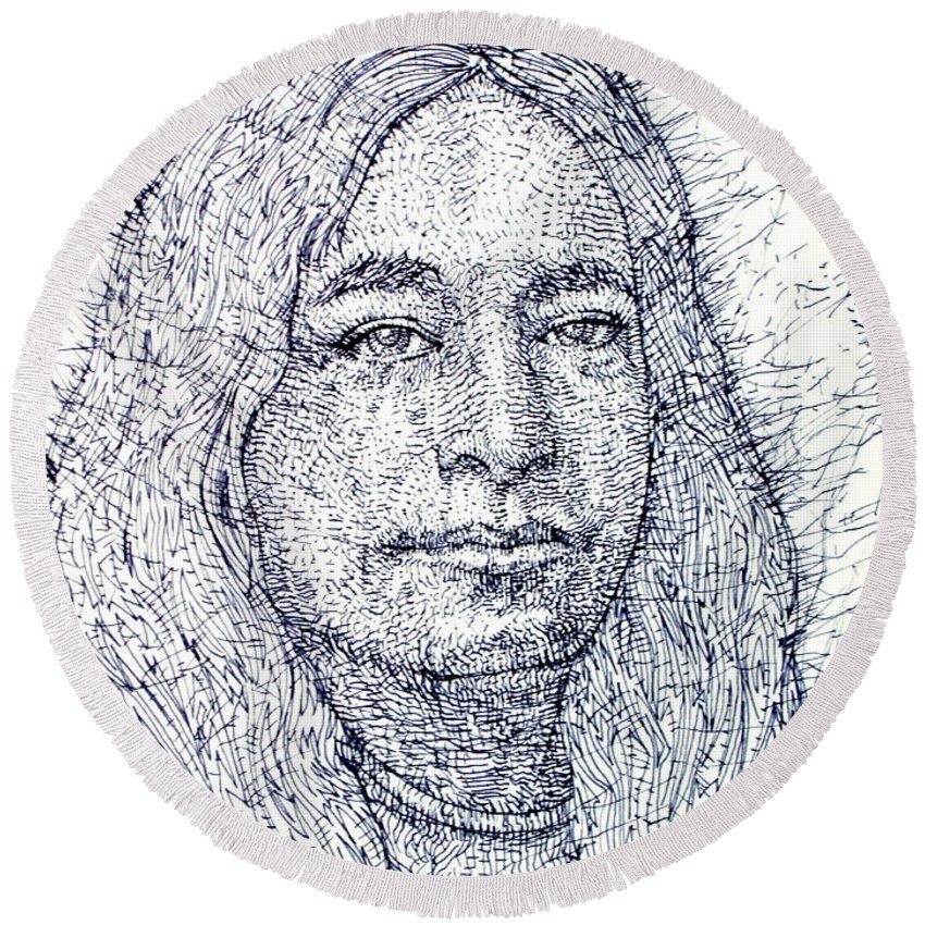 Yogananda Round Beach Towel featuring the drawing Yogananda - Pen Portrait by Fabrizio Cassetta