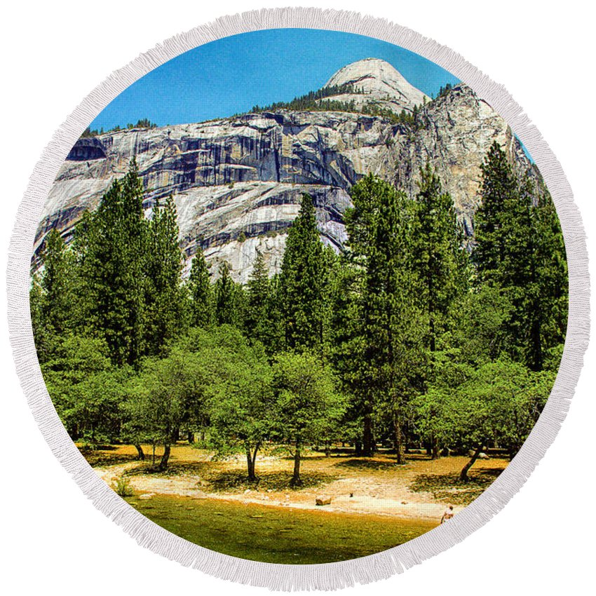 Beautiful Round Beach Towel featuring the painting Yosemite Valley Along Yosemite River Beach by Bob and Nadine Johnston