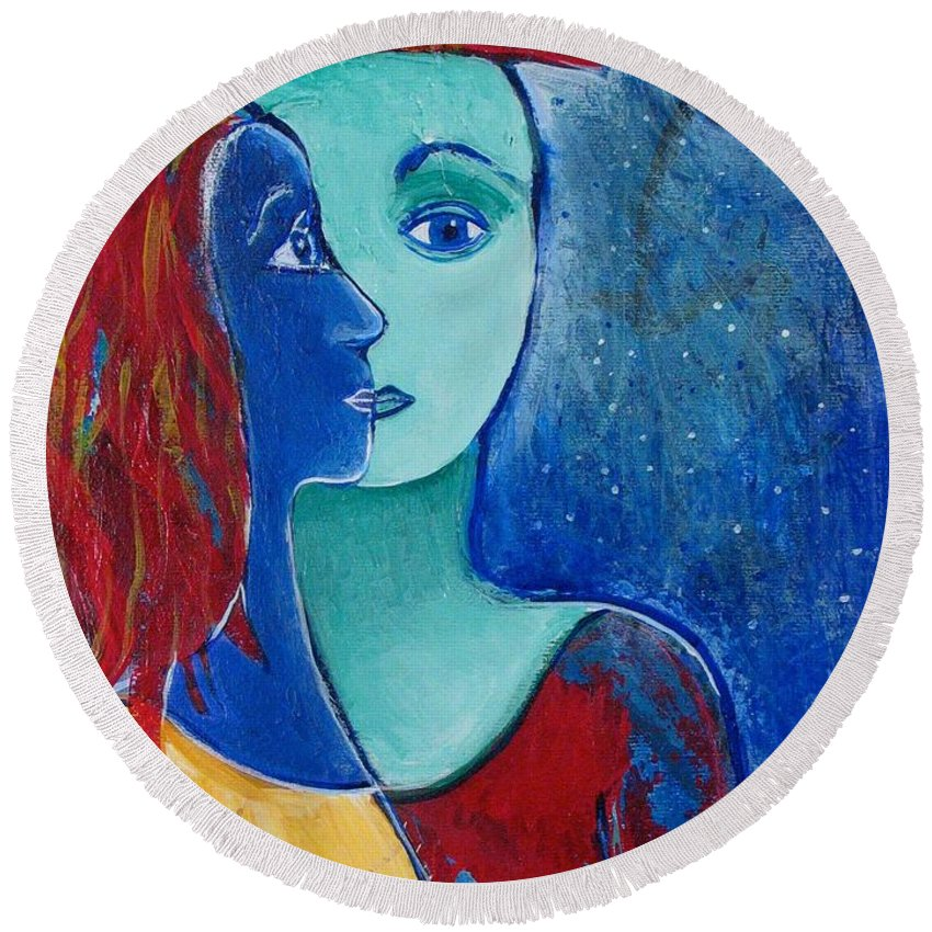 Lovers Round Beach Towel featuring the painting You and Me II by Rollin Kocsis