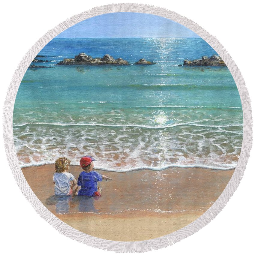 Landscape Round Beach Towel featuring the painting You And Me by Richard Harpum