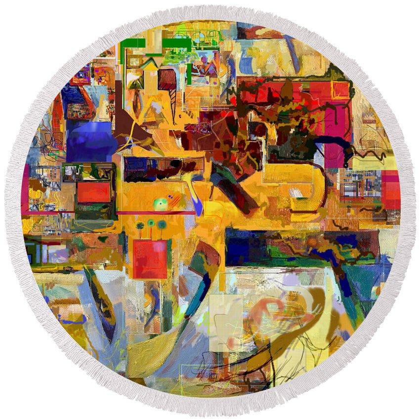 Torah Round Beach Towel featuring the digital art You Graciously Endow Man With Wisdom 16f by David Baruch Wolk