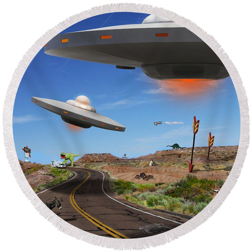 Surrealism Round Beach Towel featuring the photograph You Never Know What You Will See On Route 66 by Mike McGlothlen