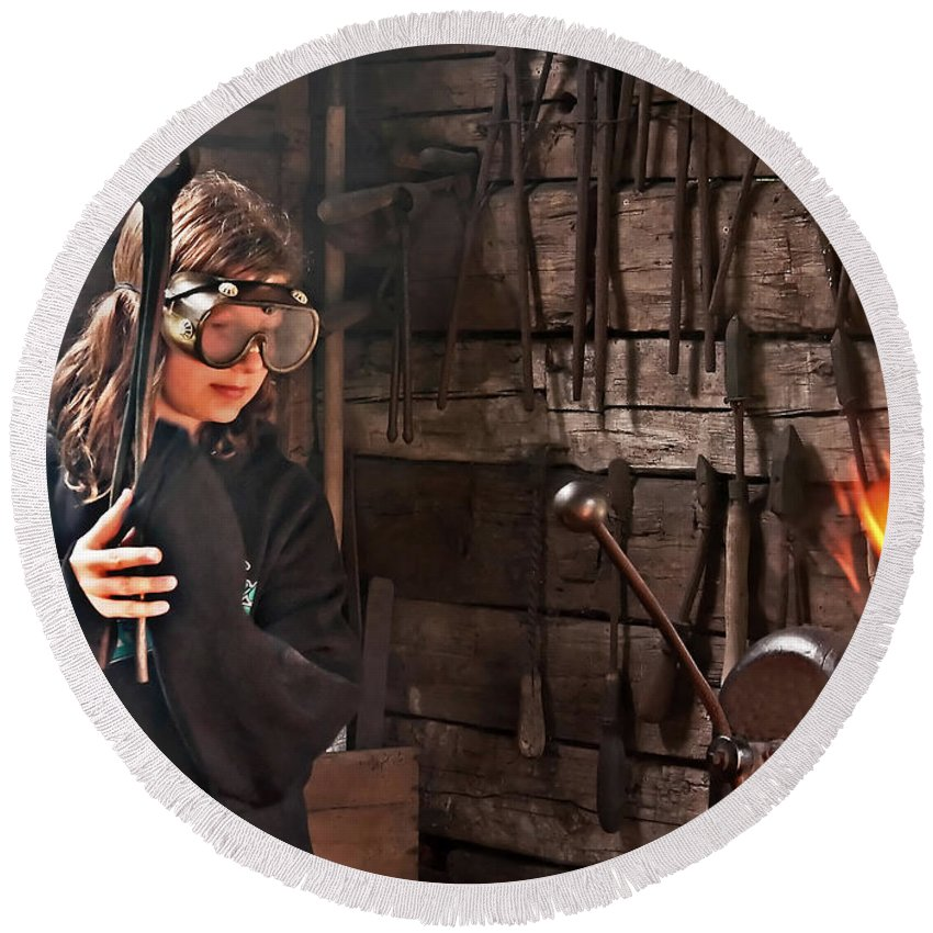 Girl Blacksmith Round Beach Towel featuring the photograph Young Blacksmith Girl Art Prints by Valerie Garner