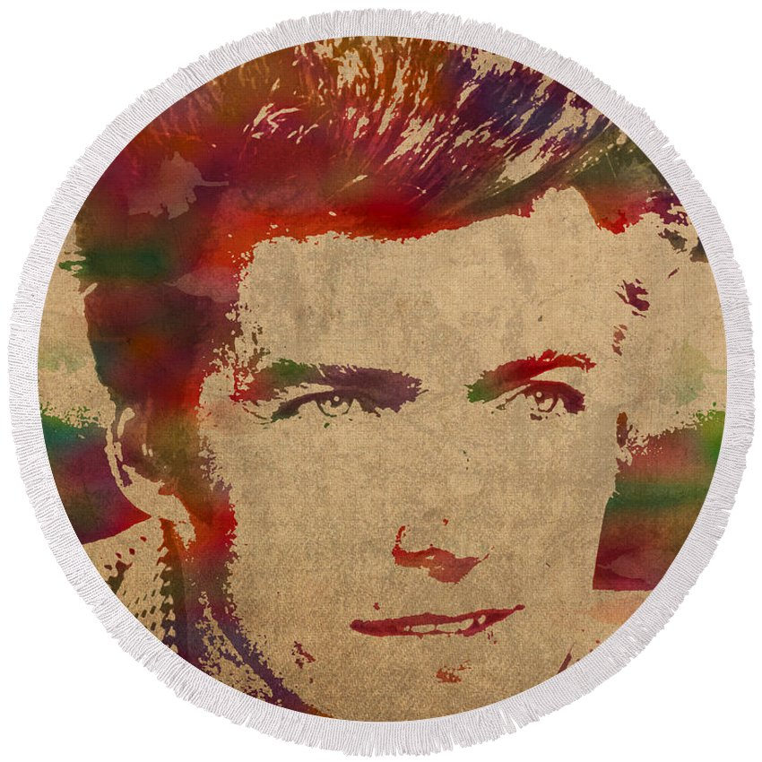 Young Round Beach Towel featuring the mixed media Young Clint Eastwood Actor Watercolor Portrait On Worn Parchment by Design Turnpike
