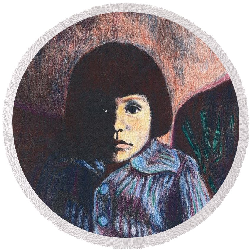 Girl Round Beach Towel featuring the drawing Young Girl In Blue Sweater by Kendall Kessler