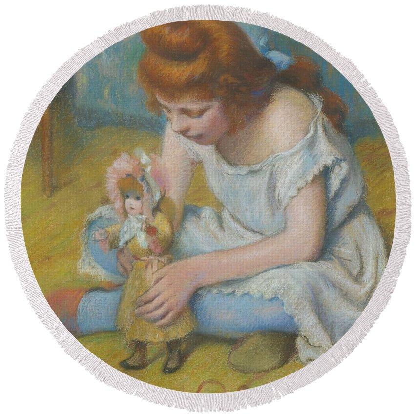 Federico Zandomeneghi Round Beach Towel featuring the painting Young Girl Playing With A Doll by Federico Zandomeneghi