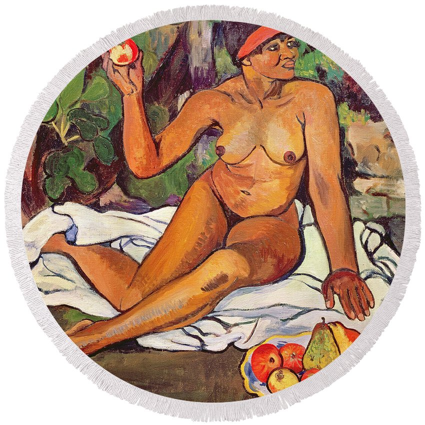 Female; Nude; Red Headband; Seated; Portrait; Fruit; Apples; Pears; Exotic Round Beach Towel featuring the painting Young Half Caste Woman by Marie Clementine Valadon