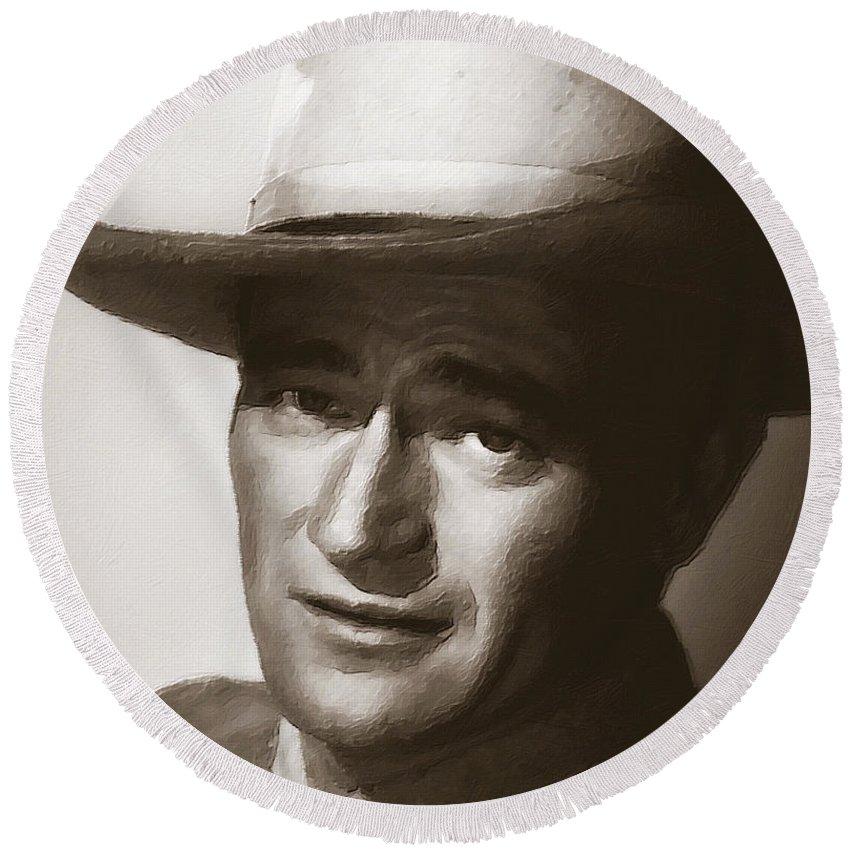 John Wayne Round Beach Towel featuring the painting Young John Wayne Painting Traditional by Tony Rubino
