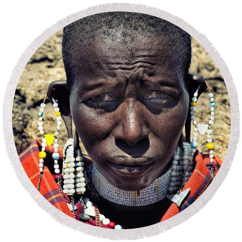 Maasai Round Beach Towel featuring the photograph Portrait Of Young Maasai Woman At Ngorongoro Conservation Tanzania by Amyn Nasser