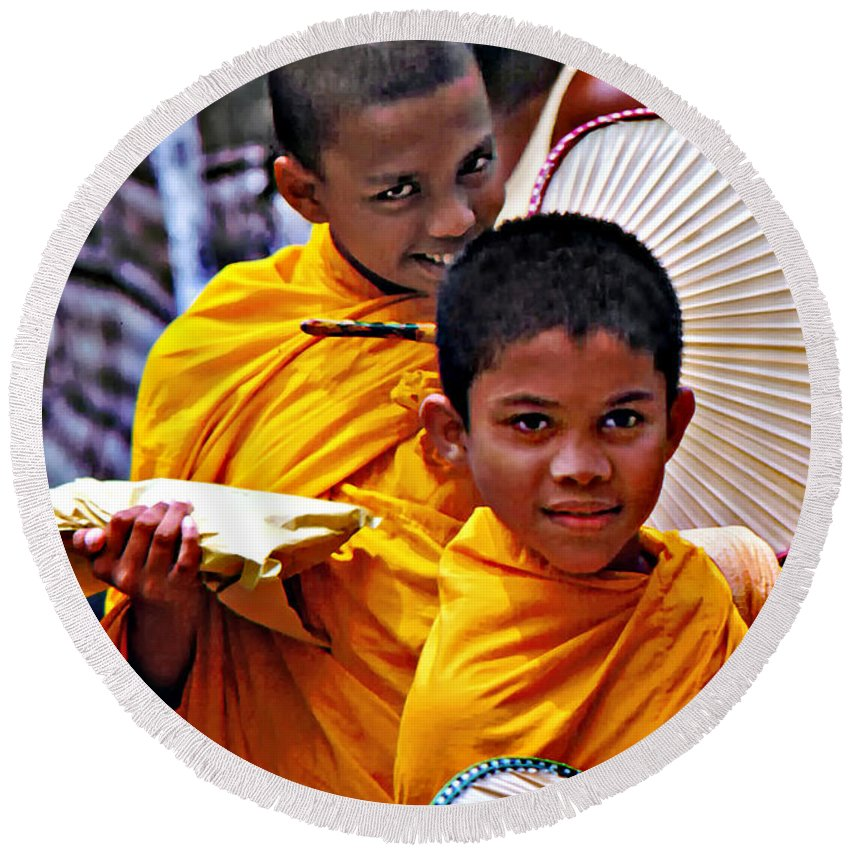 Buddhism Round Beach Towel featuring the photograph Young Monks by Steve Harrington