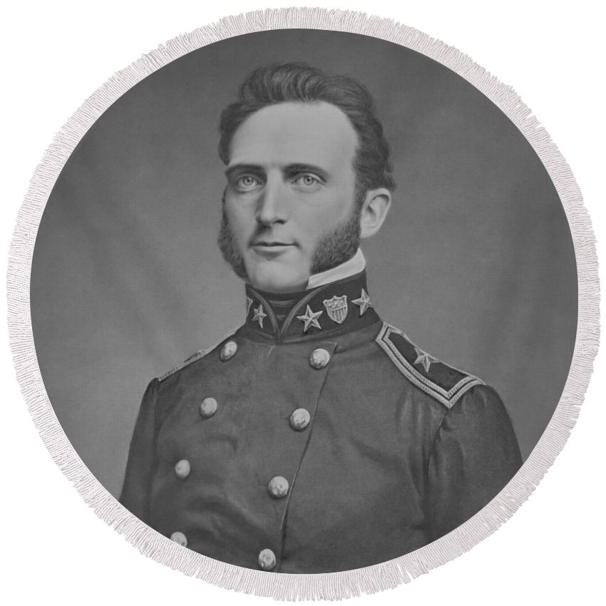Stonewall Jackson Round Beach Towel featuring the photograph Young Stonewall Jackson by War Is Hell Store