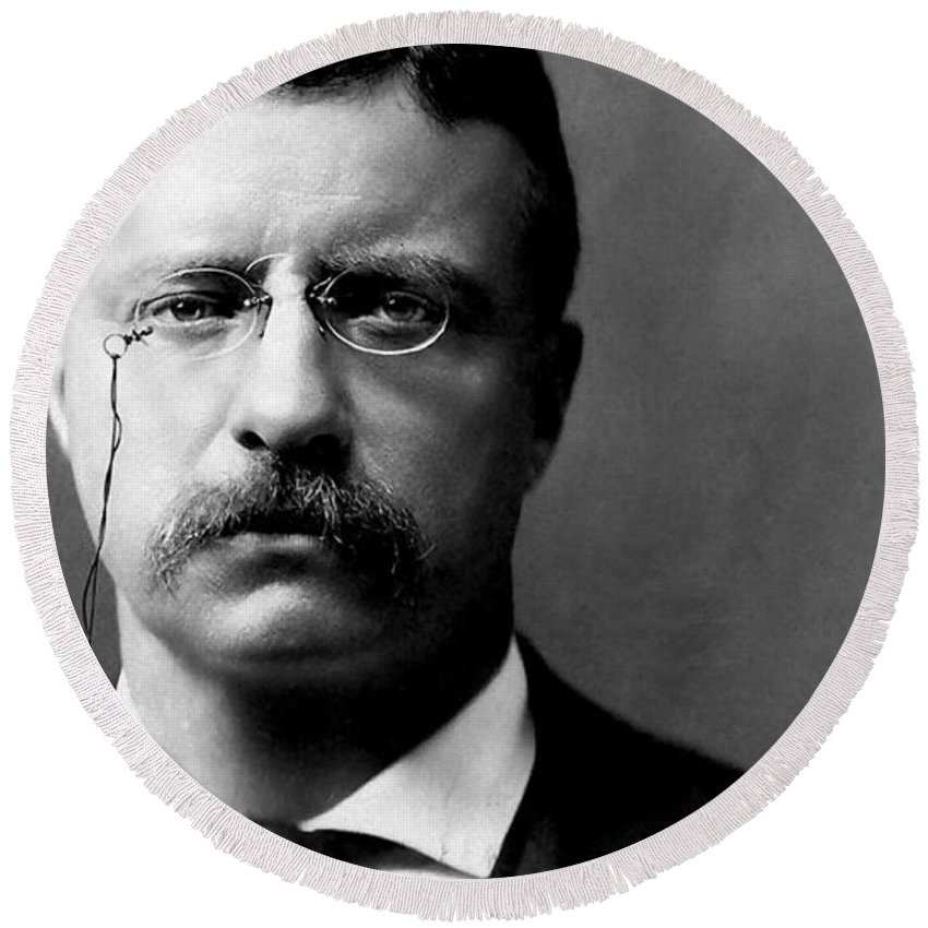 Young Theodore Roosevelt Round Beach Towel featuring the photograph Young Theodore Roosevelt by Bill Cannon