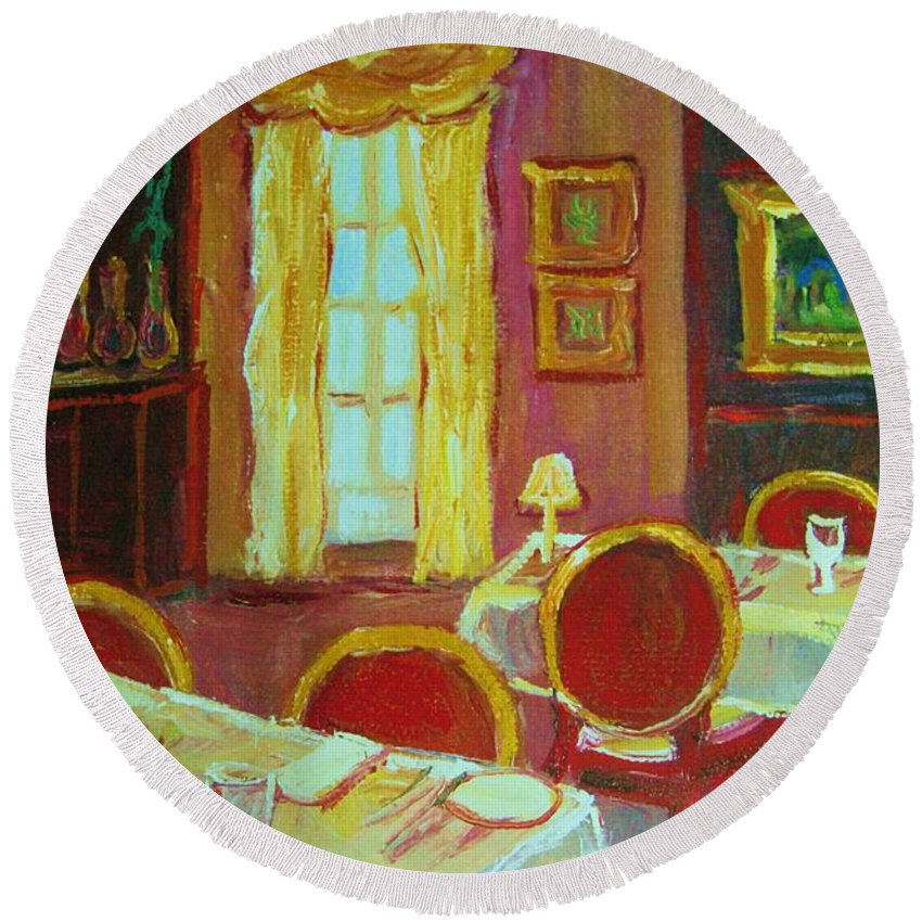 Interior Round Beach Towel featuring the painting Your Table Awaits by Carole Spandau