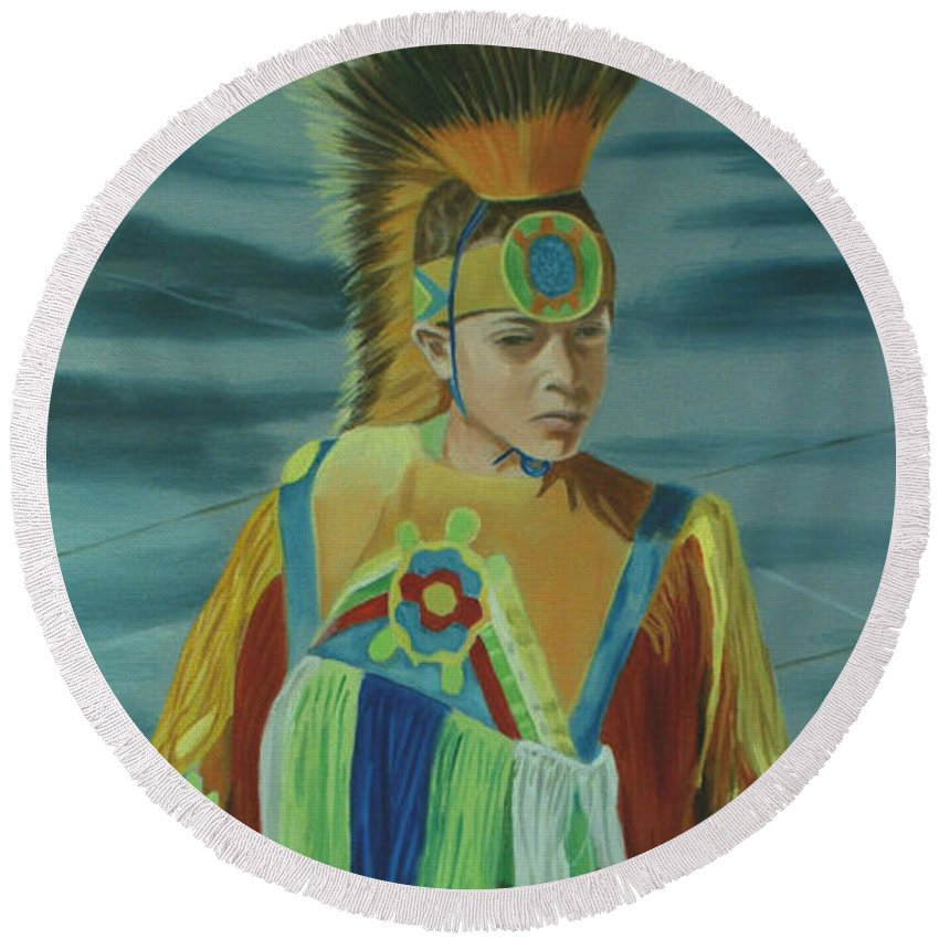 Native American Round Beach Towel featuring the painting Youth by Jill Ciccone Pike