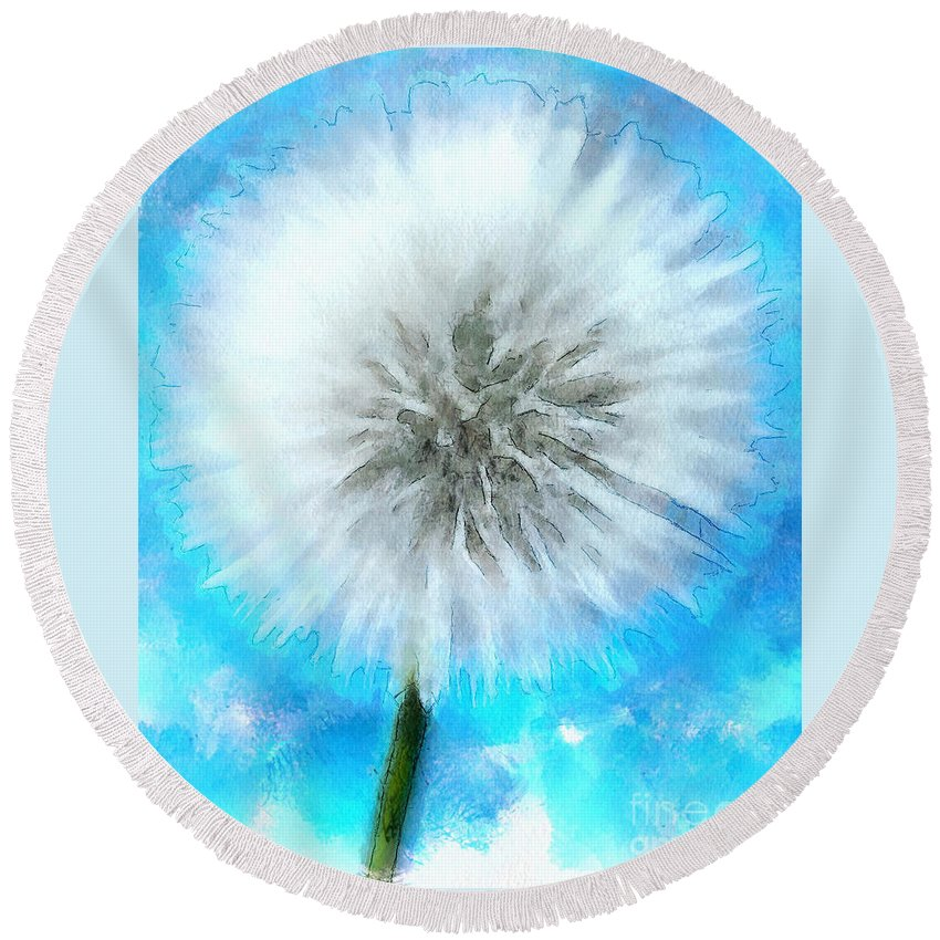 Dandelion Round Beach Towel featuring the digital art Youthful Wish by Krissy Katsimbras