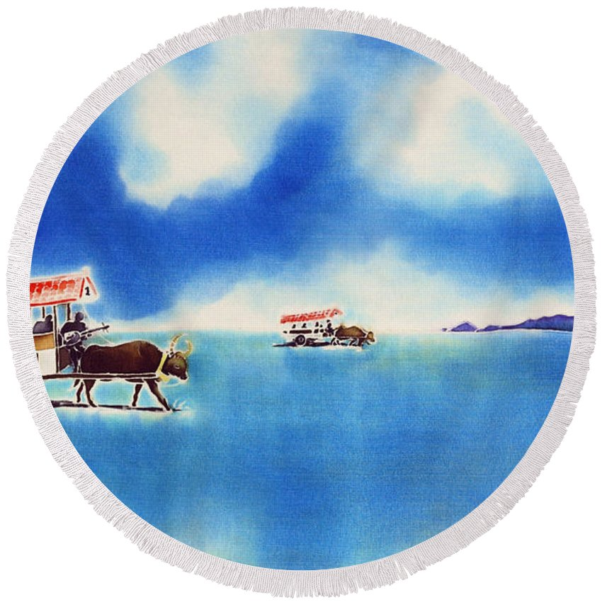 Japan Round Beach Towel featuring the painting Yubu Island-water Buffalo Taxi by Hisayo Ohta