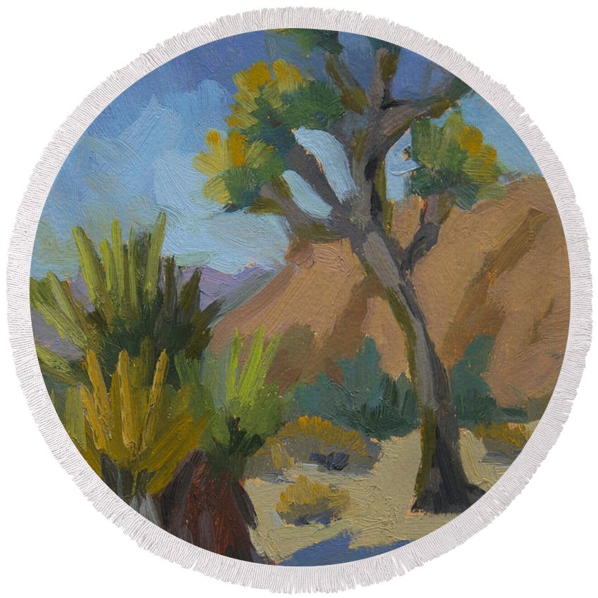 Yucca Round Beach Towel featuring the painting Yucca And Joshua by Diane McClary