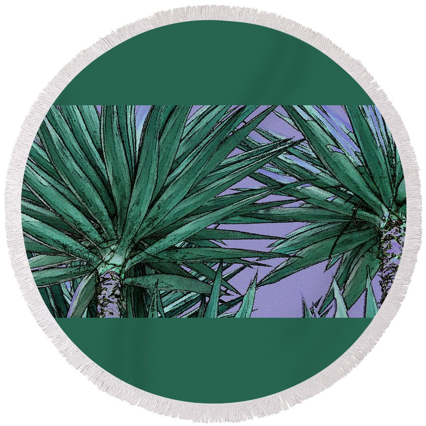Yucca Tree Tops Round Beach Towel featuring the photograph Yucca Tops by Ben and Raisa Gertsberg