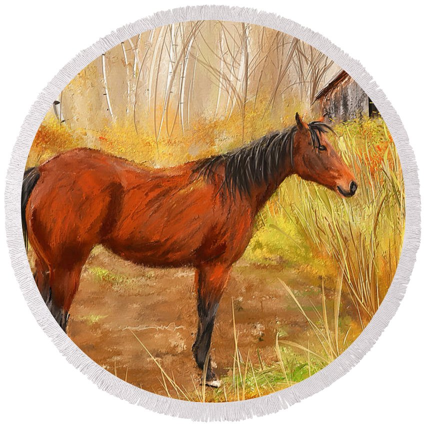 Barn Horse Round Beach Towel featuring the painting Yuma- Stunning Horse In Autumn by Lourry Legarde