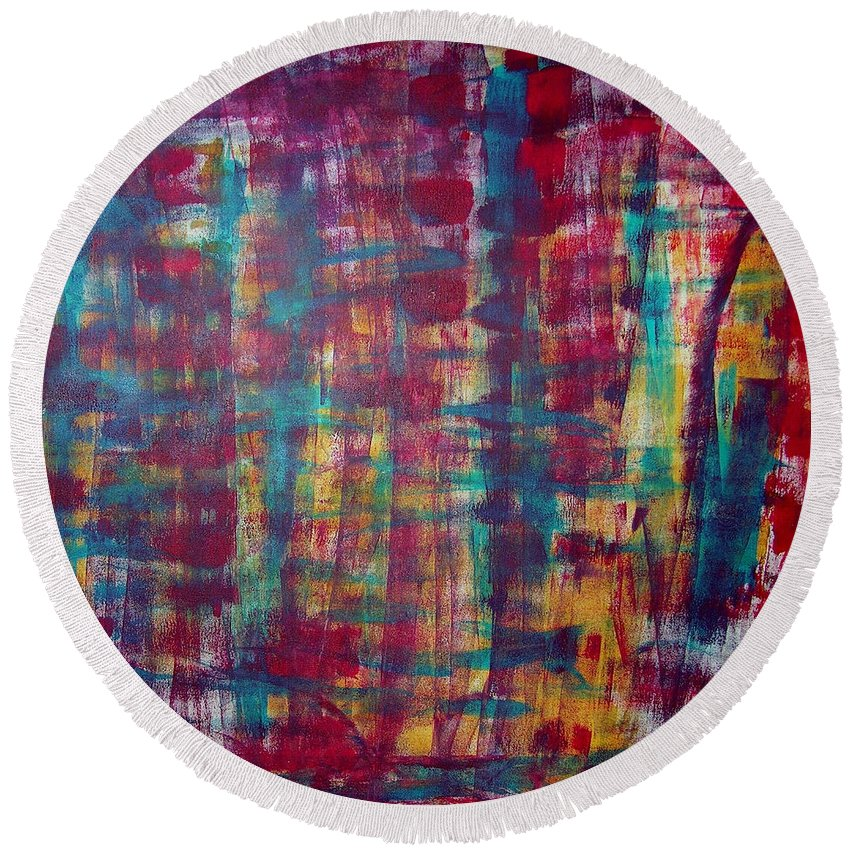 Abstract Painting Round Beach Towel featuring the painting Z2 by Kunst mit Herz Art with Heart