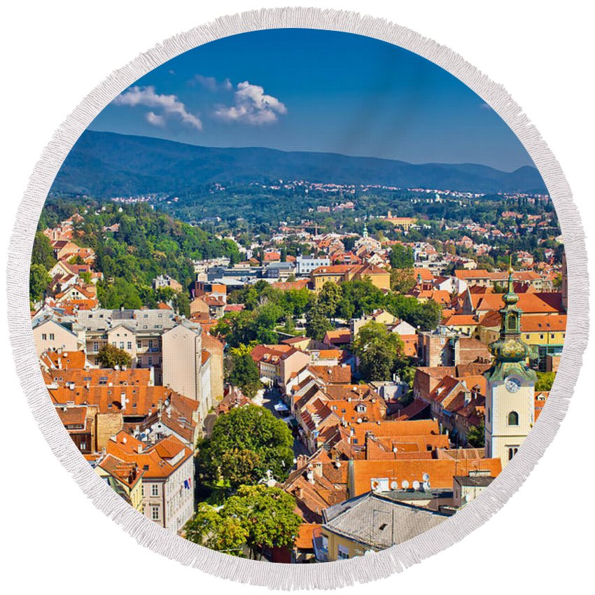 Croatia Round Beach Towel featuring the photograph Zagreb Capital Of Croatia Aerial View by Brch Photography