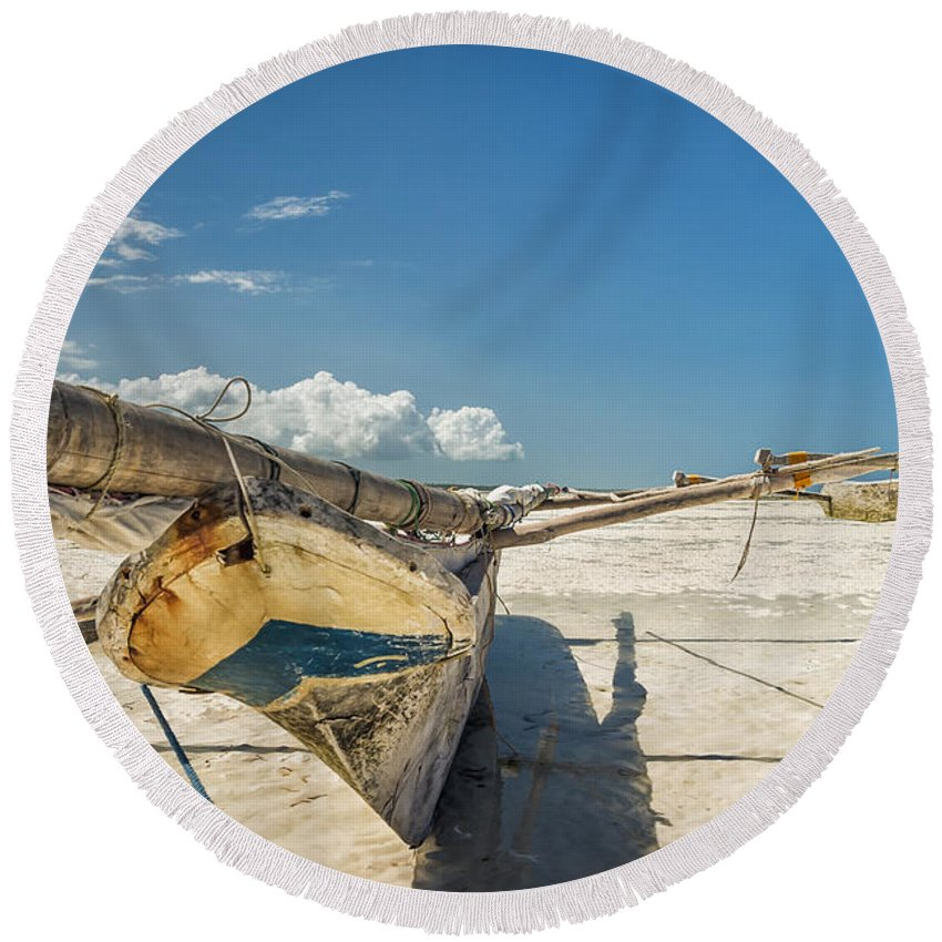 3scape Photos Round Beach Towel featuring the photograph Zanzibar Outrigger by Adam Romanowicz