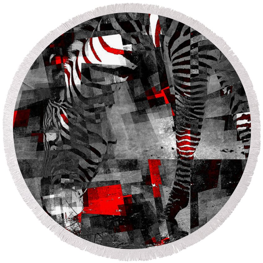 Black Round Beach Towel featuring the photograph Zebra Art - 56a by Variance Collections