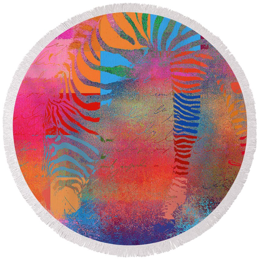 Zebra Round Beach Towel featuring the photograph Zebra Art - Mtc077b by Variance Collections