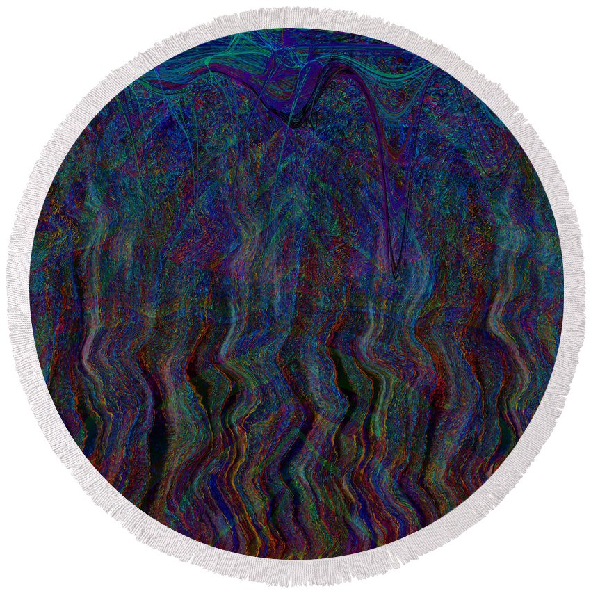 Waterfall Round Beach Towel featuring the digital art Zebra Falls by Diane Parnell