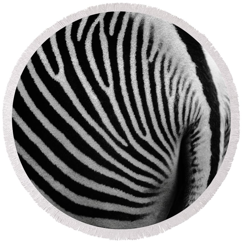 Zebra Round Beach Towel featuring the photograph Zebra Tail by Bruce J Robinson