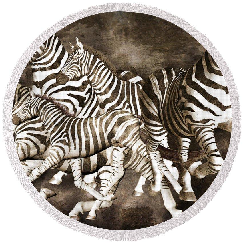 Fantasy Round Beach Towel featuring the digital art Zebras by Betsy Knapp