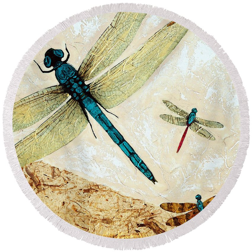 Dragonfly Round Beach Towel featuring the painting Zen Flight - Dragonfly Art By Sharon Cummings by Sharon Cummings