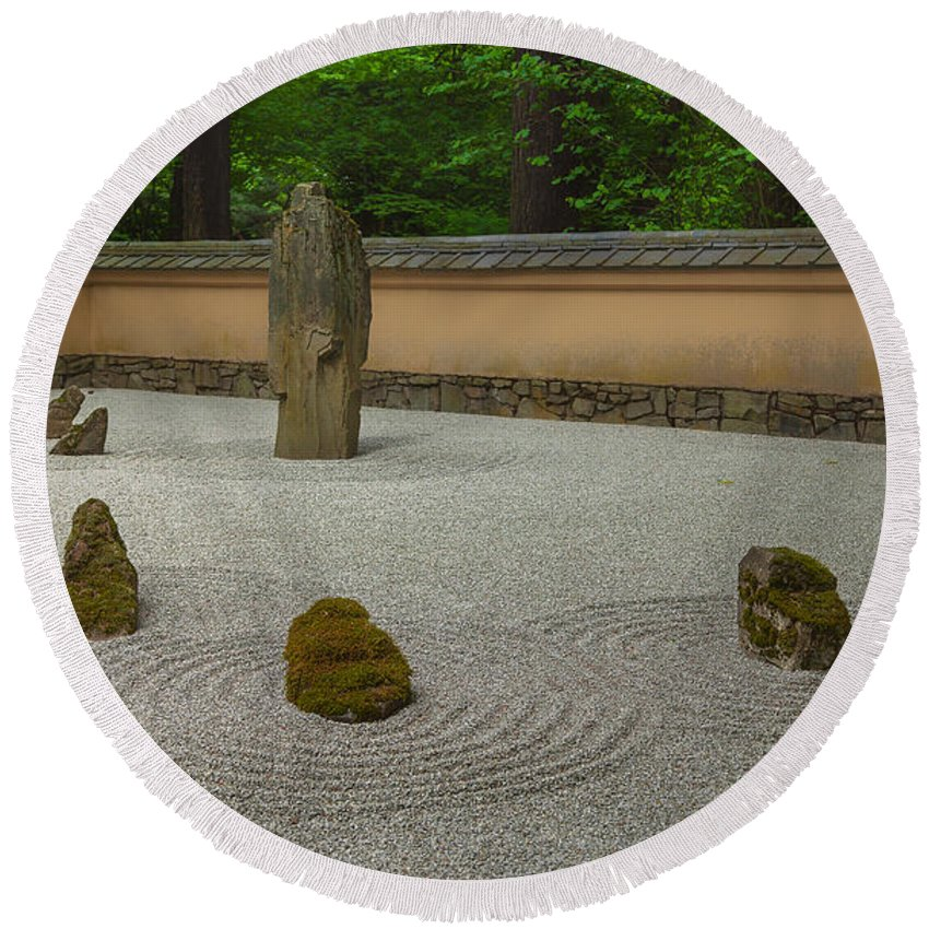 Japanese Gardens Round Beach Towel featuring the photograph Zen by Jacqui Boonstra